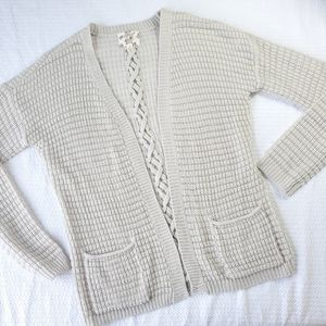 Hippie Rose Loose Knit Open Cardigan Sweater